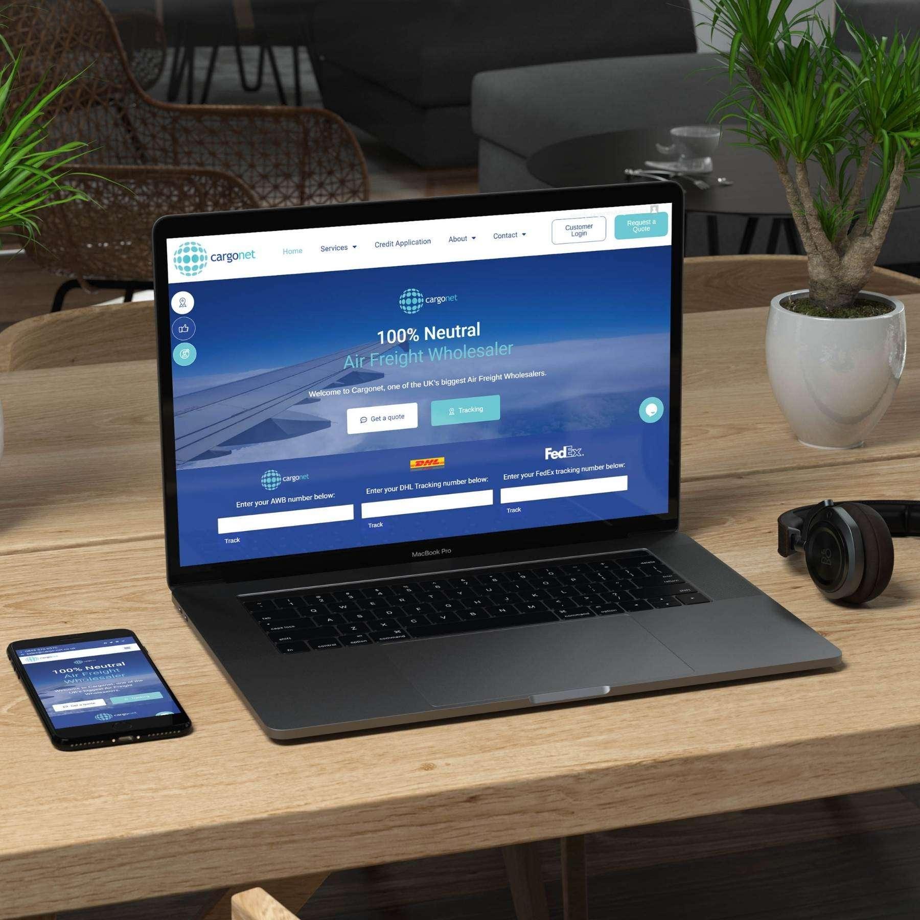 Cargonet website mobile and desktop