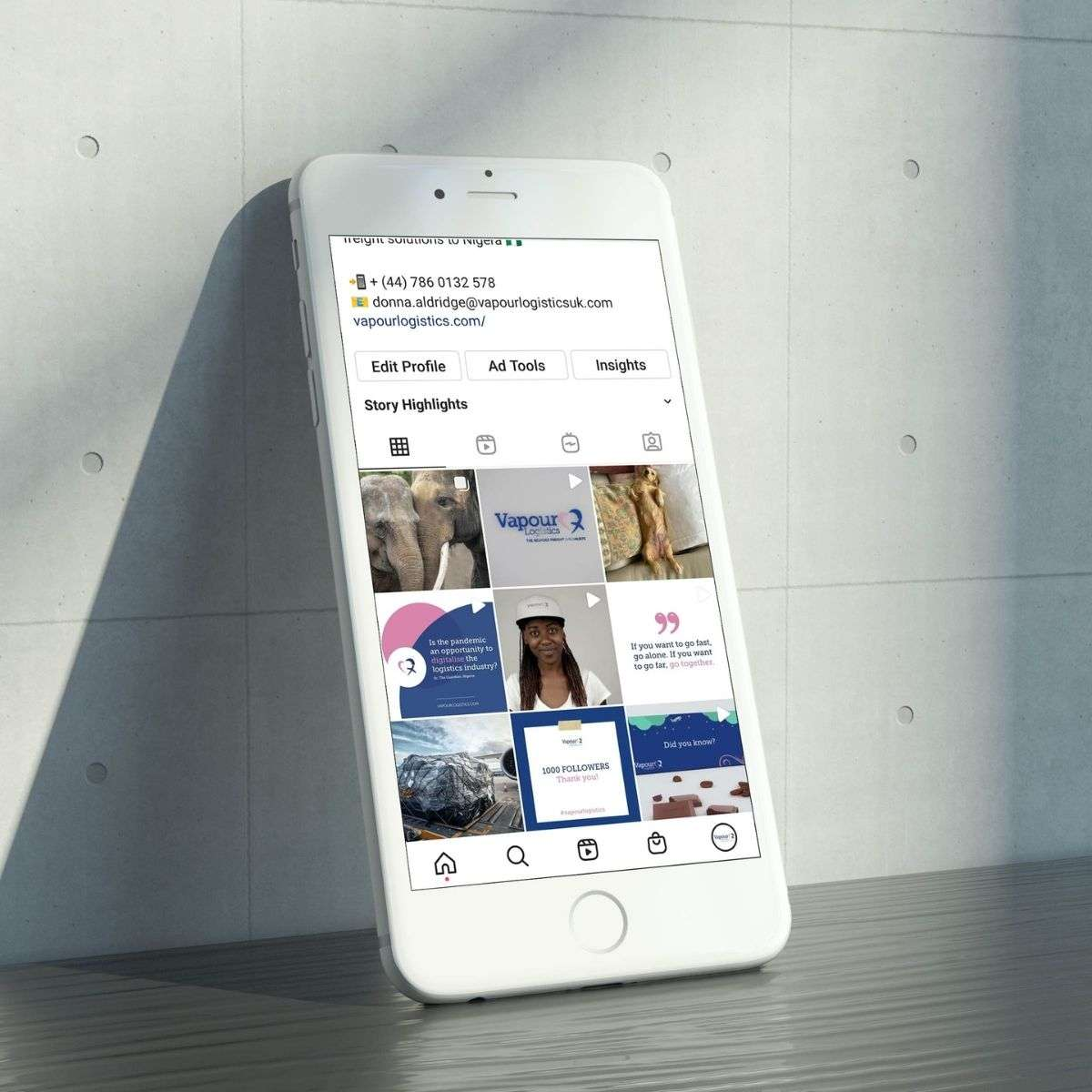 Vapour Logistics Instagram Feed on Mobile